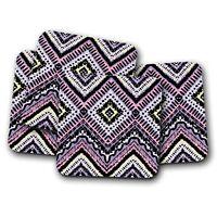 4 Set - Tribal Pattern Coaster - Aztec Ethnic Purple Mum Auntie Gran Gift #12419