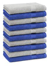 Betz Lot de 10 serviettes débarbouillettes Premium bleu royal & gris argenté