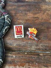 Vintage McDonalds Pins, Pin Back, Lapel Pin, Hat Pin, Fries Smile, Red Yellow