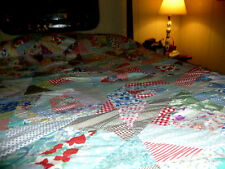 """Handmade Antique Quilt Top 60"""" X 86"""" Many old Different Fabrics"""
