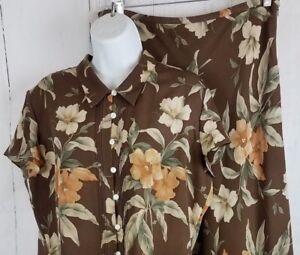 Jones New York 2 Piece Silk Maxi Skirt Blouse Top Set Brown Tropical Safari 14