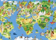 Photo Wallpaper - WORLD MAP - Kids Wall Mural nursery decoration - baby bedroom