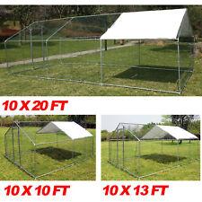Large Metal Walk In Rabbit Hutch Chicken Cage Coop Hen House Enclosure XXL