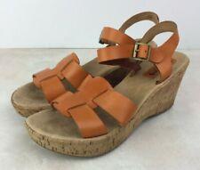 Korks By Kork-Ease Women Size 8 Sandals Orange Leather Open Toe Cork Wedge Heel