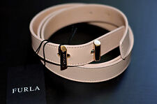 New Authentic Furla Beige Leather Women's Twist Magnolia Belt (Size Medium)