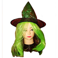 Green Glitter Witch Hat with Hair Halloween Costume Accessory Girls Teens Child