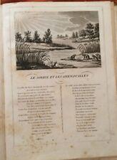 LA FONTAINE. LE SOLEIL ET LES GRENOUILLES. FABLE ET GRAVURE 1834