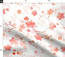 Flowers Sakura Watercolor Coral Cherry Blossom Spoonflower Fabric by the Yard