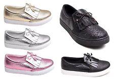 BRILLO Damas Borla Informal a la Moda Zapatillas Con Cordones mujer niña
