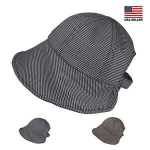 Morehats Herringbone Casual Dressy Cloche Bucket Packable Adjustable Hat
