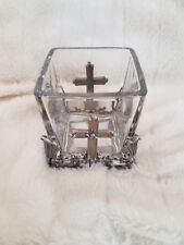 Cross Candle Holder Candelabra Glass,Awesome bougeoir,Clear,2.7 3.8 inch