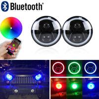 "7"" LED Headlight 7 inch RGB Halo Angel Eyes DRL Bluetooth Control For Hummer H2"