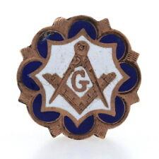 Gold Filled Blue Lodge Master Mason Lapel Pin - Enamel Masonic Square & Compass