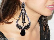GLAMOROUS BLACK ONYX AND BLACK DIAMOND CRYSTAL LONG CHANDELIER PARTY EARRINGS