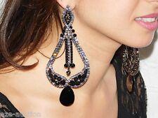 GLAMOROUS BLACK ONYX AND BLACK DIAMOND CRYSTAL LONG CHANDELIER PARTY EARRINGS