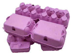 50 - 250  X NEW HALF DOZEN FLAT TOP EGG BOXES IN PINK FOR MEDIUM TO LARGE EGGS