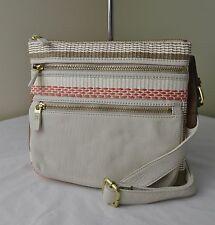 Fossil White Stripe Straw Leather Explorer Crossbody
