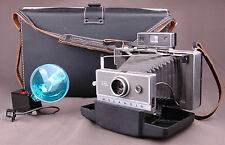 Polaroid Land Camera Model 240-Flash-Leather Straps-Bellows-Case-Paperwork-VTG