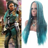 Womens Girls Descendants 2 Uma Cosplay Wigs Long Braided Mixed Mint Hairpiece AU