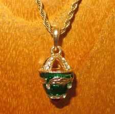 Russian EGG pendant golden chain GREEN ENAMEL Swarovsky Crystals Motif Red stone