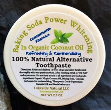 Natural Toothpaste Baking soda & Peppermint Oil in Organic Coconut Oil Whitening
