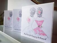 Thank you Bridesmaid or Maid of Honour Personalised Handmade Card any Colour
