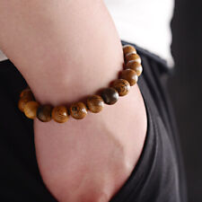 10mm Natural Wood Fashion Men Bracelet Beaded Charm Bangle Wrist Gift Jewelry