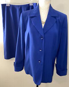 Le Suit Womens Blue Suit Blazer Jacket & Skirt Lined Sz 14