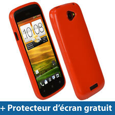 Rouge Étui Housse Case Cover Brillant TPU pour HTC One S Android Smartphone 1