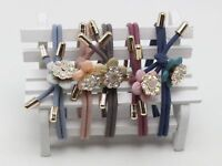 10pcs Mixed Color Knot Rhinestone Flower Hair Ties Rope Elastic Rubber Bands