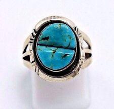 Navajo Handmade Kingman Turquoise Ring Set In Sterling Silver Size-6