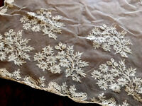 Antique CREAM Tulle Lace Ladies LARGE Shawl / Caplet / Scarf Stole 98X19 Inches