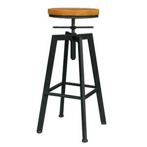 Vintage Industrial Bar Stools Chair Retro Kitchen Counter Wooden Seat Pub UK