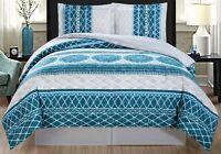 Turquoise Blue Grey White Navy Reversible Goose Down Alt Comforter Set Twin Size