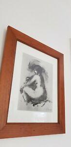 Framed Pencil Sketch Nude Print,,nicely Framed.