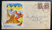1944 Middleton Canada Patriotic cover To Wellesley Ma Usa She Loves Me