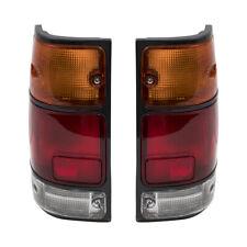 Fits Honda Isuzu Pickup Truck Set of Taillights - Tail Lamps with Black Trim