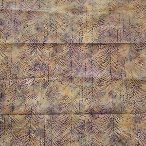 30 Inches Batik Cotton Quilt Fabric Multicolor Purple Cream Green Trees Sticks