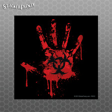 Black Bloody Handprint Sticker Biohazard Bumper vinyl Decal zombie #FS912
