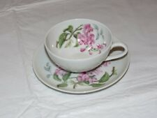 H&C Heinrich Wisteria Tea/Coffee Cup and Saucer White Pink Flowers!