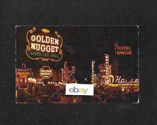 "LAS VEGAS FREMONT ST ""GLITTER GULCH"" NIGHTTIME VIEW 1940'S HOTEL APACHE POSTCARD"