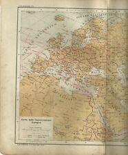 Carta delle Comunicazioni Europee Telegrafi Ferrovie Piroscafi 1898