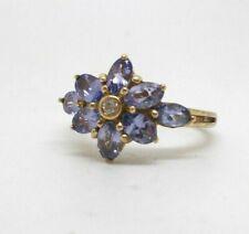 9ct Carat Yellow Gold Purple Tanzanite & Diamond Floral Flower Cluster Ring