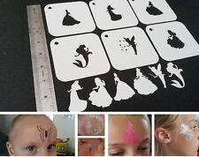 Fit For Kids Face Painting DISNEY PRINCESSES Style Set of 6pcs Reusable Stencils