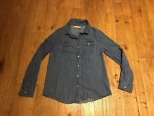 M&S! Girls Soft Denim Look Shirt, Size 9–10 Years, 100% Cotton