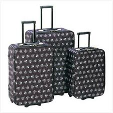 3 pc Black SKULL gothic carry-on rolling wheels suitcase complete luggage set