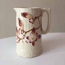 Antique Edwardian Arts & Crafts earthenware jug rustic embossed flower design