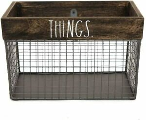 """Rae Dunn """"THINGS"""" Wire Basket Wooden Rustic Farmhouse Home Decor Storage ~NEW~"""