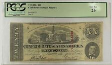 1863 $20 Confederate Note T-58 Pcgs Very Fine 25