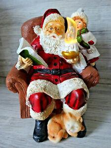 Schöne LED Deko Figur-- Nikolaus m. Kind & Katze-- Weihnachtsmann-- Nostalgie